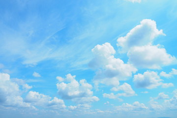 Beautiful bright blue sky and white clouds for cute background, wallpaper and decoration. Cool banner on page, presentation and website. Blue sky and clouds theme, inspirational and new day concept