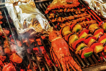 Lobster Barbecue cooking