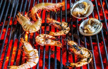 prawn or tiger shrimp grilling steamed barbecue