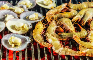 prawn or tiger shrimp cooking grill