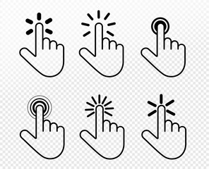 Set of hand click icon. Touch, click hand gesture symbol for your web site design, picture, art, logo, app, UI. Vector symbol on transparent background.