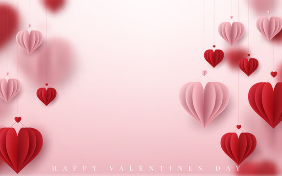 3D Realistic Red Hearts Background with Sweet Happy Valentines Day. Vector illustration