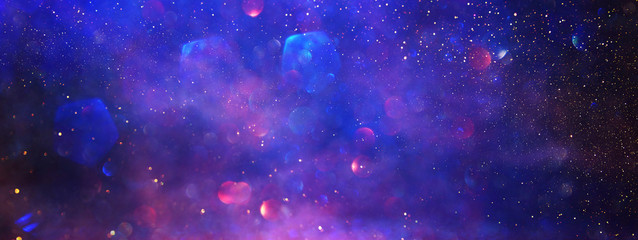 abstract glitter silver, purple, blue lights background. de-focused. banner