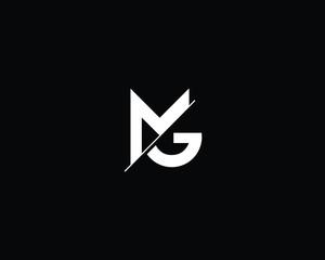 Fototapeta Professional and Minimalist Letter MG Logo Design, Editable in Vector Format in Black and White Color obraz