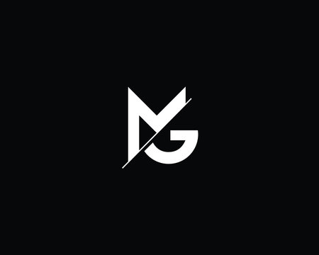 Professional and Minimalist Letter MG Logo Design, Editable in Vector Format in Black and White Color