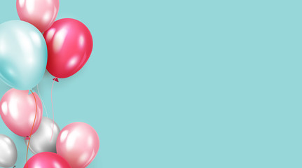 Background with helium balloons. Realistic celebration baloon coral color minimalist creative abstract banner hd quality sky color studio