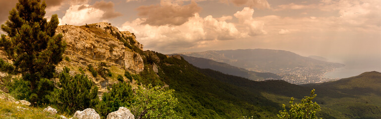 panoramic view of the Caucasus Mountains in summer day Wall mural