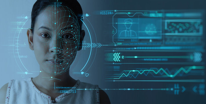 Facial Recognition System concept with Face Recognition and 3D scanning interface.