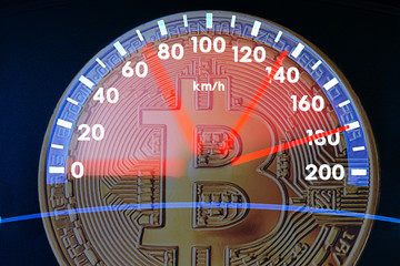 Image of bitcoin and car speedometer. Collage. The concept of the rapid growth of digital cryptocurrency. The problem of digital currency development. Good deals with cryptocurrency.