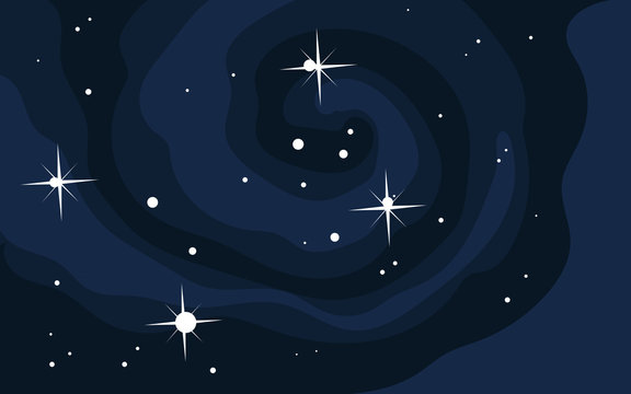 Vector space background . Cute flat style template with Stars in Outer space