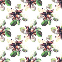 Nuts seamless pattern, watercolor illustration.