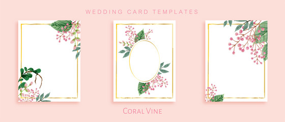 Beautiful design set of wedding card templates. Romantic and elegant with watercolor painting technique.