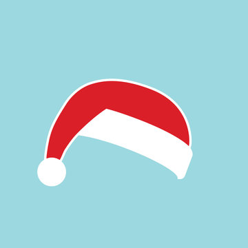 Santa Claus hat flat. Realistic Santa Claus hat isolated blue background. Red funny cap silhouette. Merry Christmas clothes cute simple cartoon design. New year decoration costume. Vector illustration