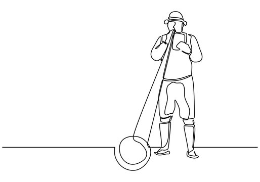 Continuous one line drawing of person blowing alphorn or alpenhorn or alpine horn is a labrophone vector illustration. Classical folk music instrument.