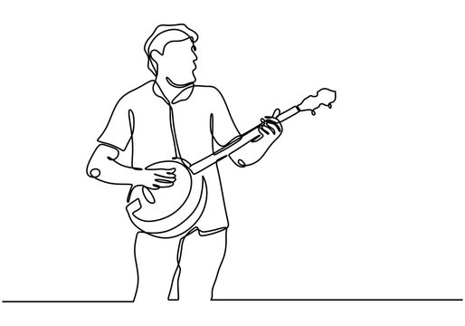 Continuous line drawing of man playing banjo guitar acoustic