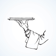 Hand of waiter with dish. Vector drawing