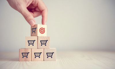 sale volume increase make business success,  Flips cube with icon goal and shopping cart symbol.