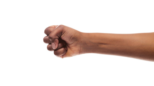 Clenched fist of african american female isolated on white background