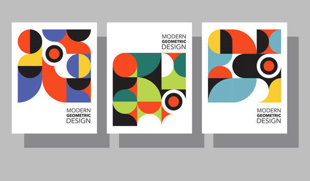 Retro geometric graphic design covers. Cool Bauhaus style compositions. Eps10 vector.
