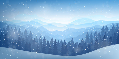 Vector illustration. Flat landscape. Snowy background. Snowdrifts. Snowfall. Clear blue sky. Blizzard. Cartoon wallpaper. Cold weather. Winter season. Forest trees and mountains. Design for website