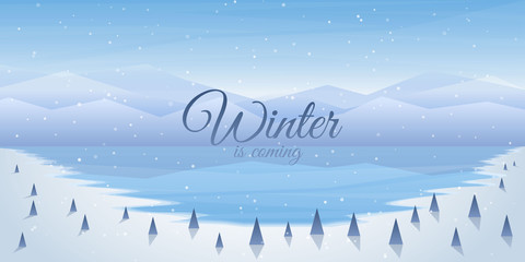 Fototapete - Vector illustration. Flat landscape. Snowy background. Snowdrifts. Snowfall. Clear blue sky. Blizzard. Frozen lake. Cold weather. Winter season. Freeze water. Trees and mountains. Design for website