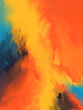 abstract background. Hand drawn Abstract oil painting. background Oil paint on canvas. orange, blue & yelow Color texture Brushstrokes artwork