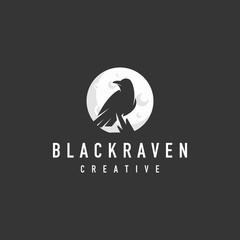 black raven logo - symbol sign vector illustration