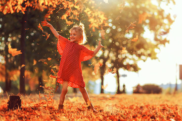 Journey in nature. Adorable happy girl throwing the fallen leaves up, playing in the autumn park....