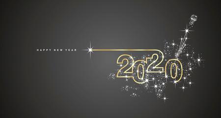 New Year 2020 line design firework champagne gold shining white black vector Fototapete