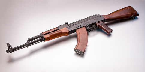 Russian AK47 on white background in studio.