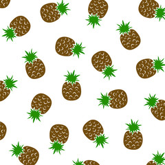 Seamless pattern with pineapple. Fashion design. Food print for tablecloth, curtain or dishcloth. Fruits sketch background – stock vector