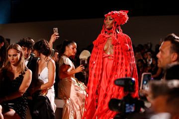 British model Naomi Campbell presents a creation during the Fashion for Relief catwalk show at London Fashion Week in London