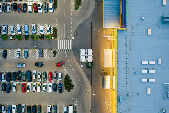 Aerial drone photography of shopping center, central europe.