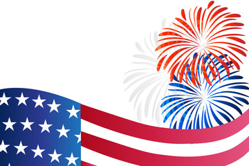 American USA flag and fireworks vector web image background template