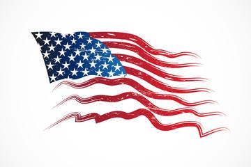 Grunge American USA flag vector render web image