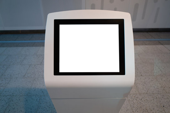 Mock up template/background texture of a blank white touch screen kiosk machine.