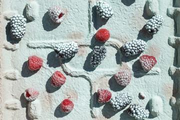 Black Berries and Raspberries on Carton