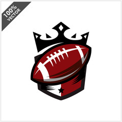 American Football Ball King Logo Vector