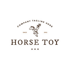 Kid playing horse toy like cowboy logo
