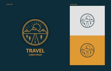 Flat line art travel logo template, minimal logotype of mountain