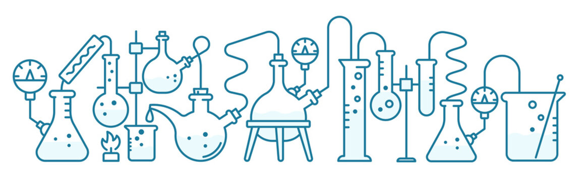 Chemistry science horizontal banner. Education lab background. The production of chemicals. Laboratory research experiments. Outline contour blue line vector.