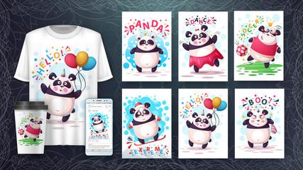 Set cartoon animals poster and merchandising.