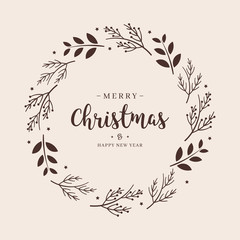 Merry Christmas greeting text branch wreath circle background