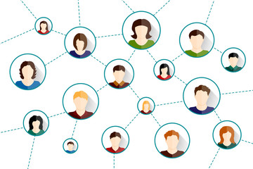 Social media network. Connected people icons. Vector illustration