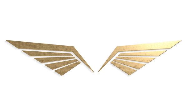 Metal wings symbol 3d rendering