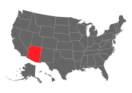Arizona vector map silhouette. High detailed illustration. United state of America country