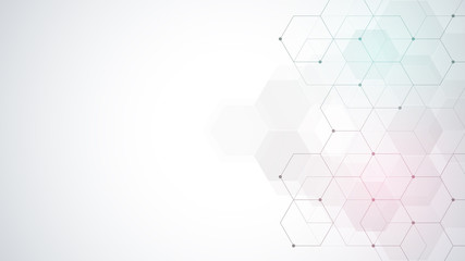 Fotobehang - Vector hexagons pattern. Geometric abstract background with simple hexagonal elements. Medical, technology or science design.