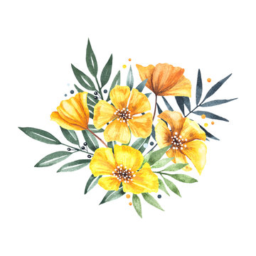 Watercolor floral composition with yellow flowers and greenery. Great for greeting cards and wedding design.