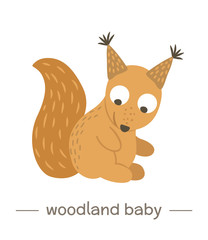 Vector hand drawn flat baby squirrel. Funny woodland animal icon. Cute forest animalistic illustration for children's design, print, stationery.