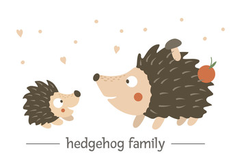 Vector hand drawn flat baby hedgehog with parent. Funny woodland animal scene showing family love. Cute forest animalistic illustration for children's design, print, stationery.